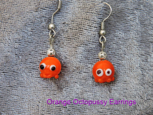 Orange octopus earrings