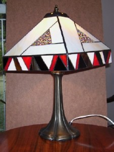 Jan's lamp with bead inserts.